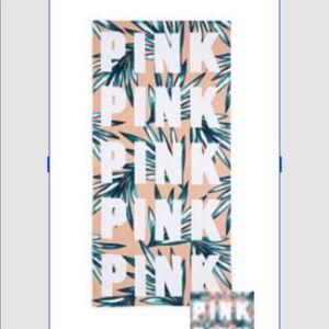Vs pink rectangular beach towel Fern